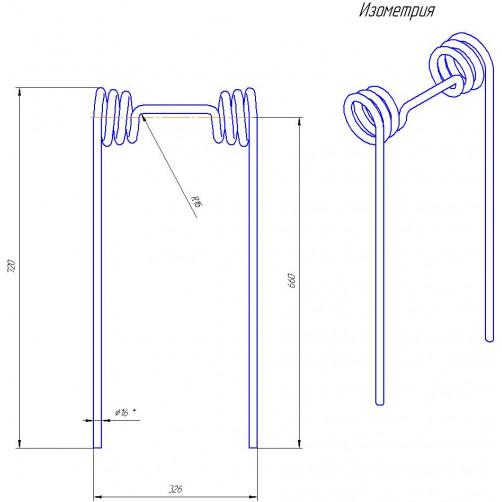 Зуб пружинный двойной для бороны тяжелой (д.16мм, L=700мм)